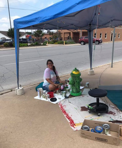 Kasey Davis Painting Fire Hydrant