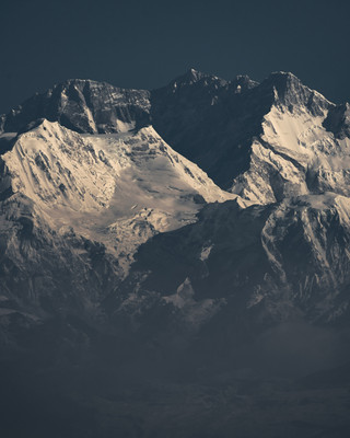 Close-up of the peaks of Mt. Kanchenjungha and Mt. Kabru