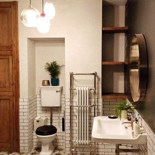 Bathroom unit and shelving from reclaimed