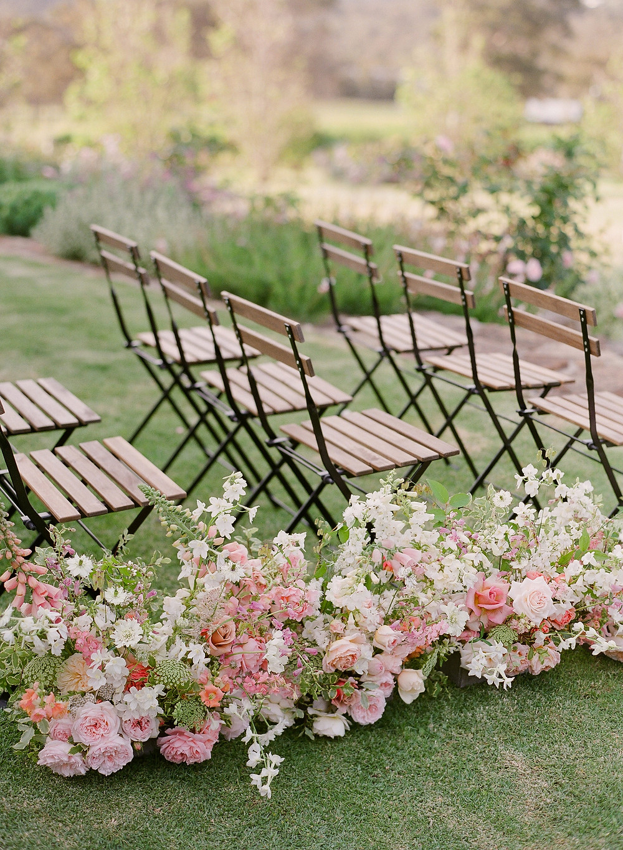 Spring flower aisle designed by Helen Leighton of Riverdale Farm