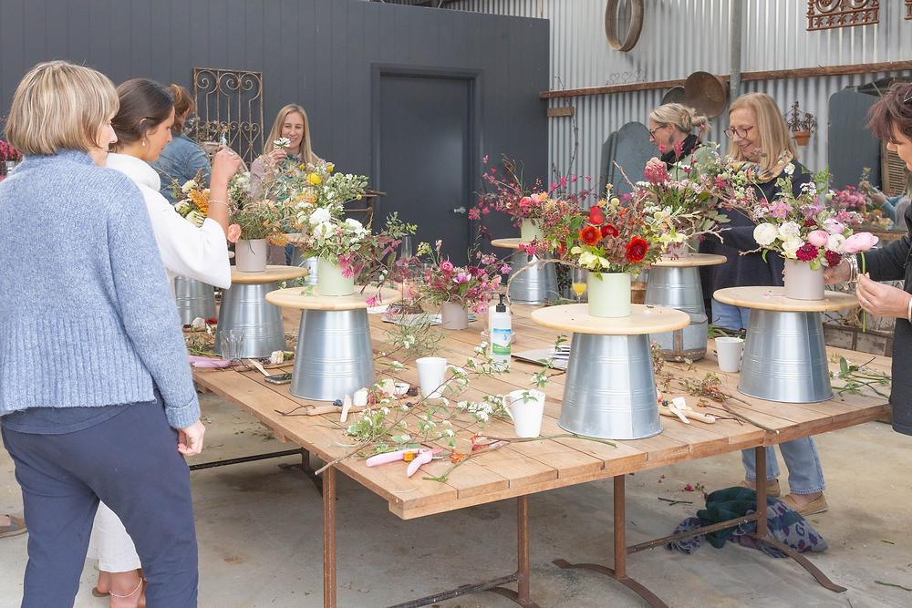 Work in progress at Floral design workshop at Riverdale Farm