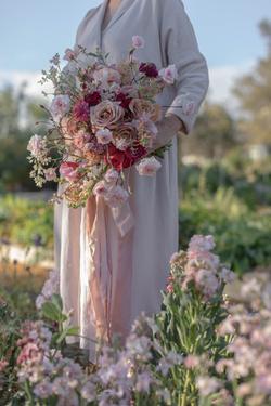 Spring garden gathered wedding bouquet f