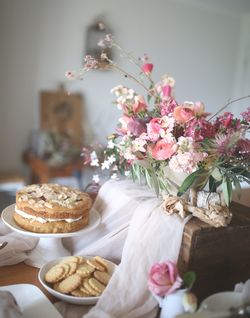 Afternoon tea and flowers in the studio