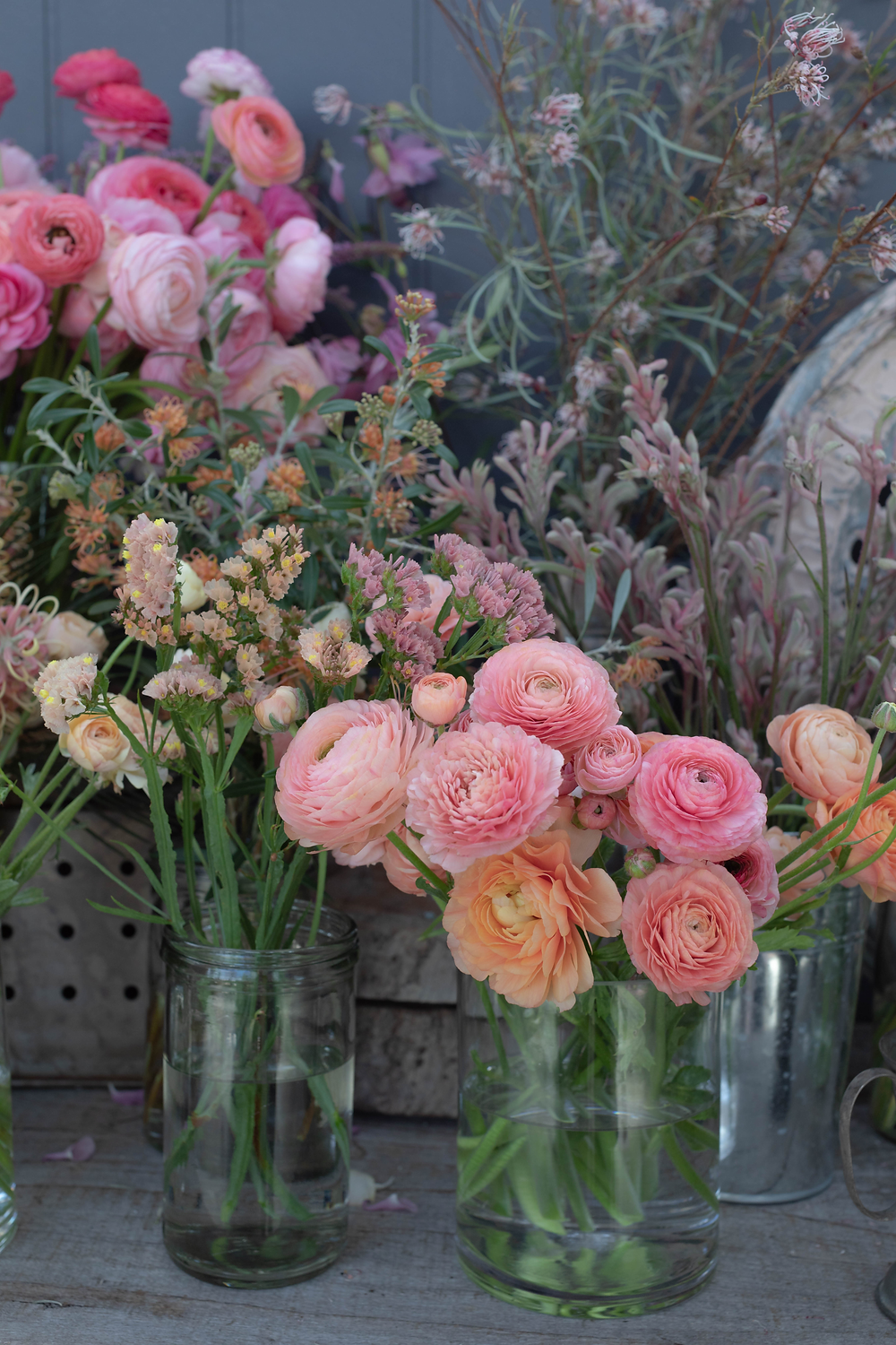 Sherbert toned ranunculus from the gardens at Riverdale Farm
