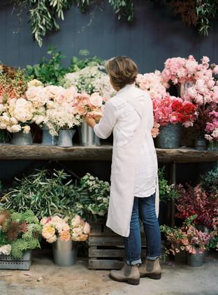 Helen arranging bouquets