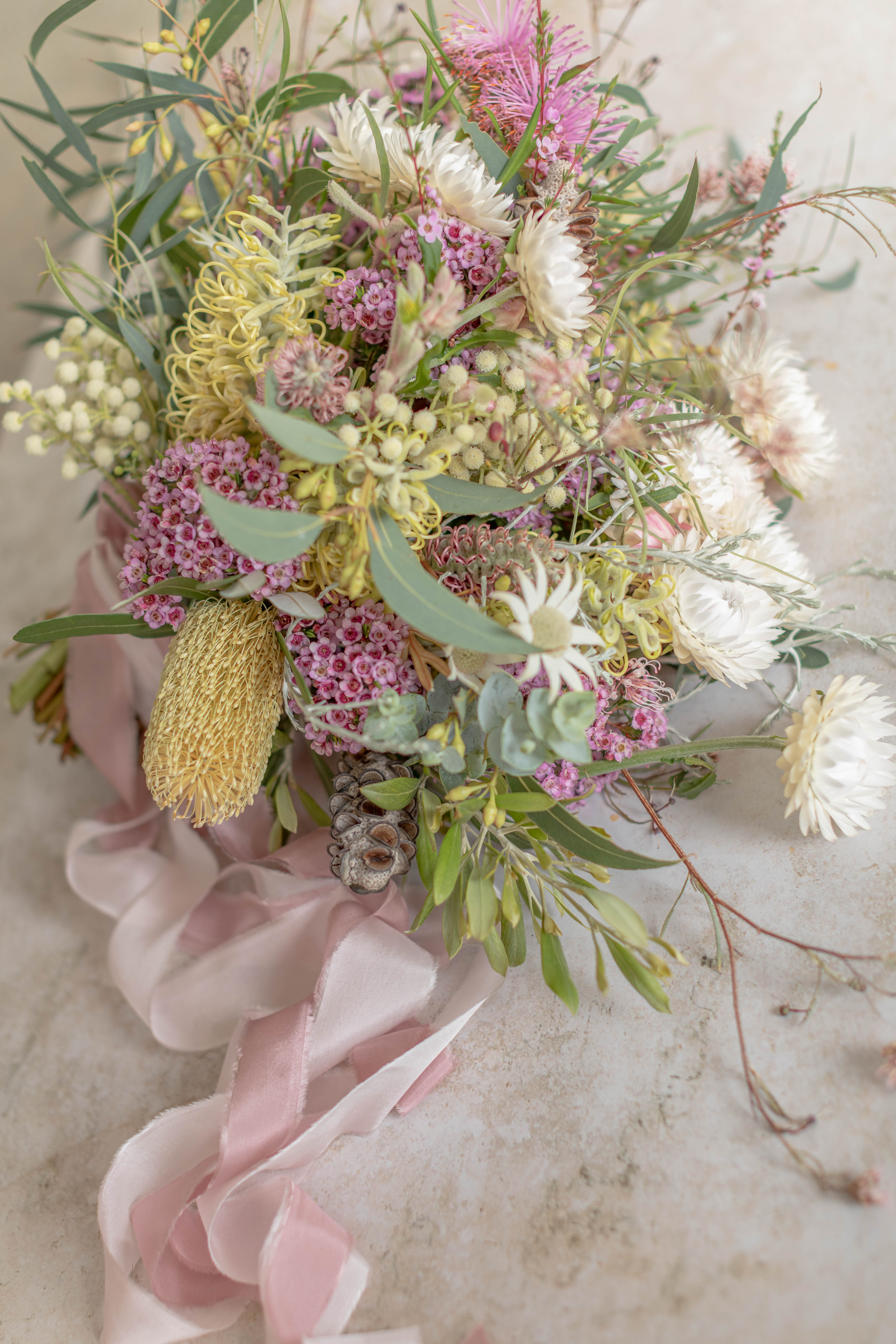 Native spring wedding bouquet from River