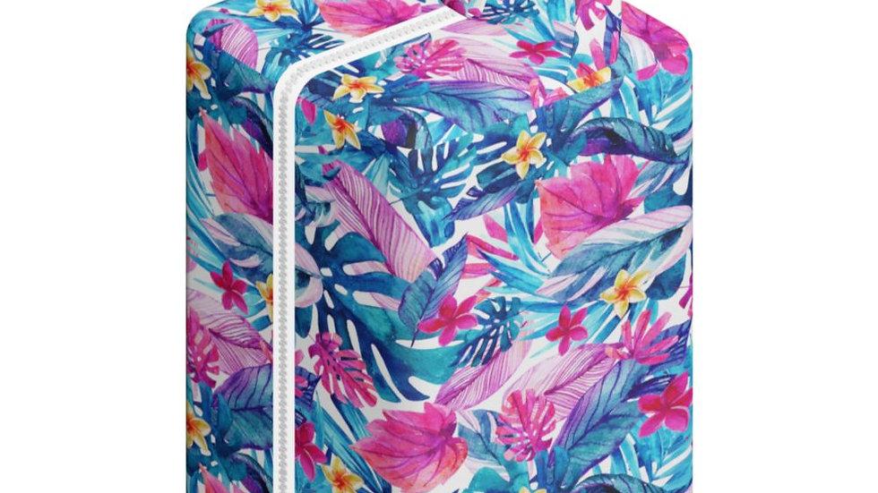 Pod Hojas y Flores Azules y Fuscia