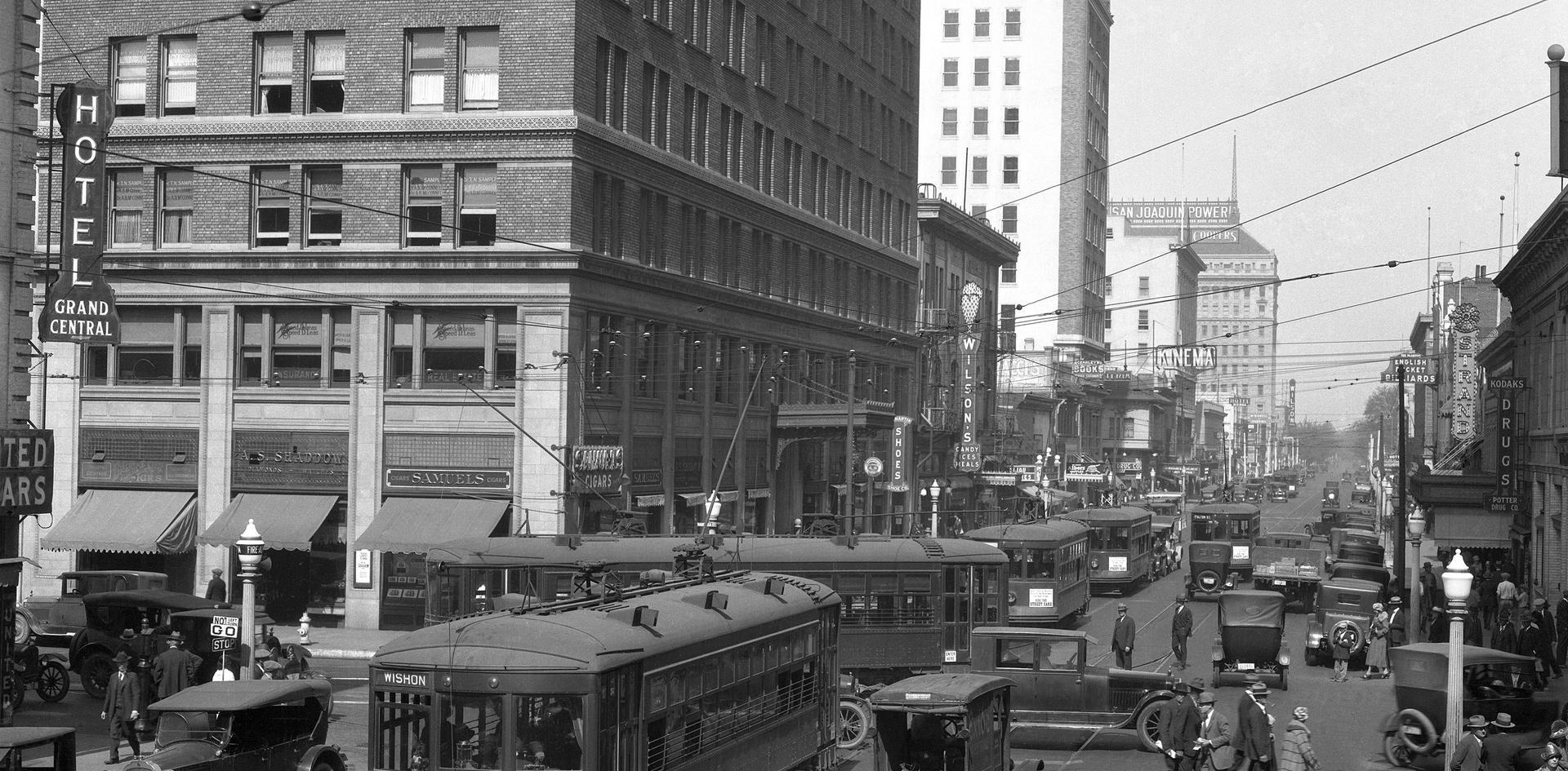 Trolleys & Cars-Downtown Fresno taken in 1926 by Pop Laval