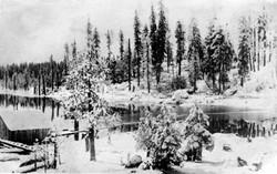 M074 Shaver Lake in winter, circa 1930