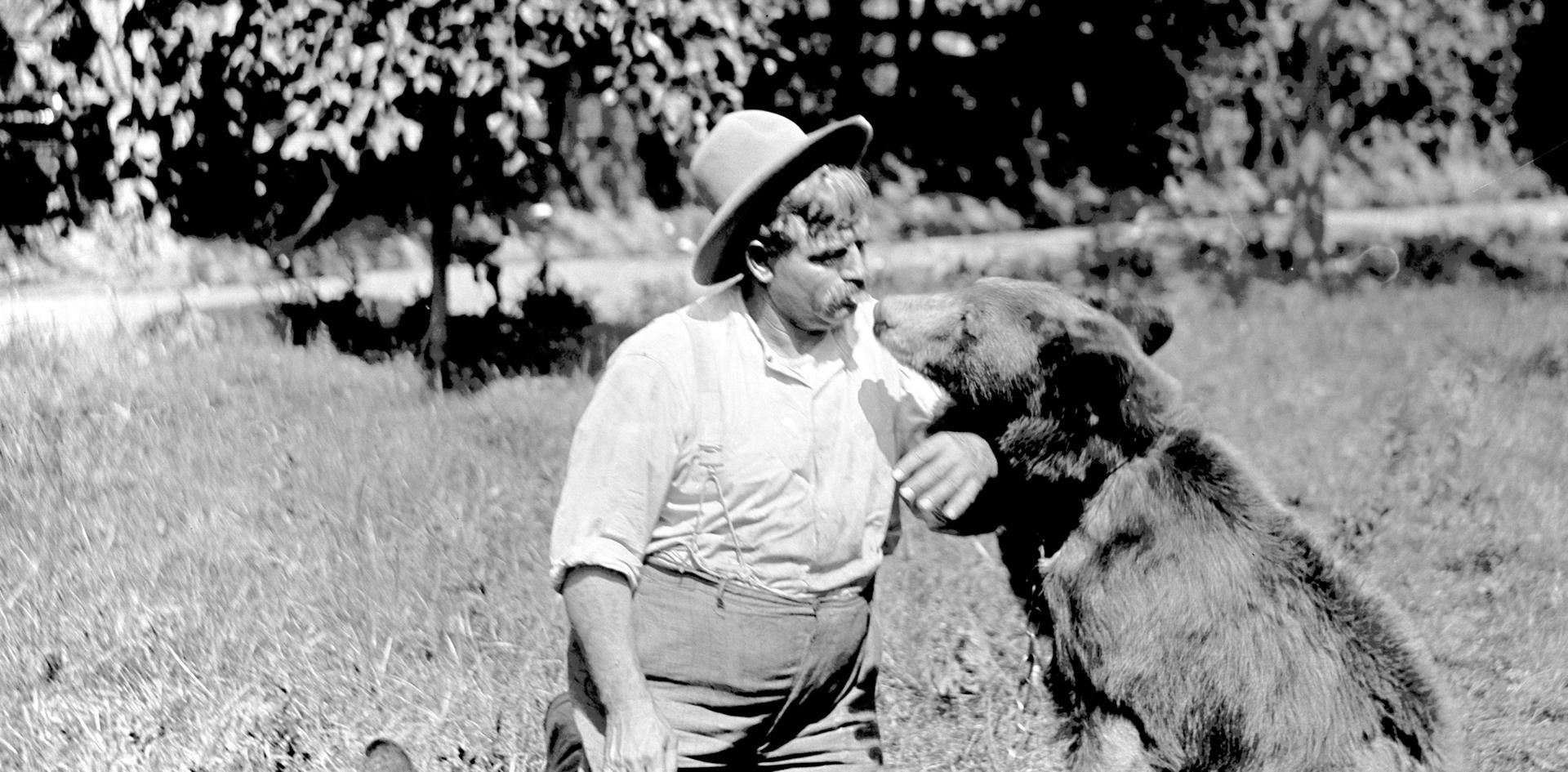 John Zapp wioth two of the Bears from his Zoo at Zapp's Park.  Photo by Pop Laval.