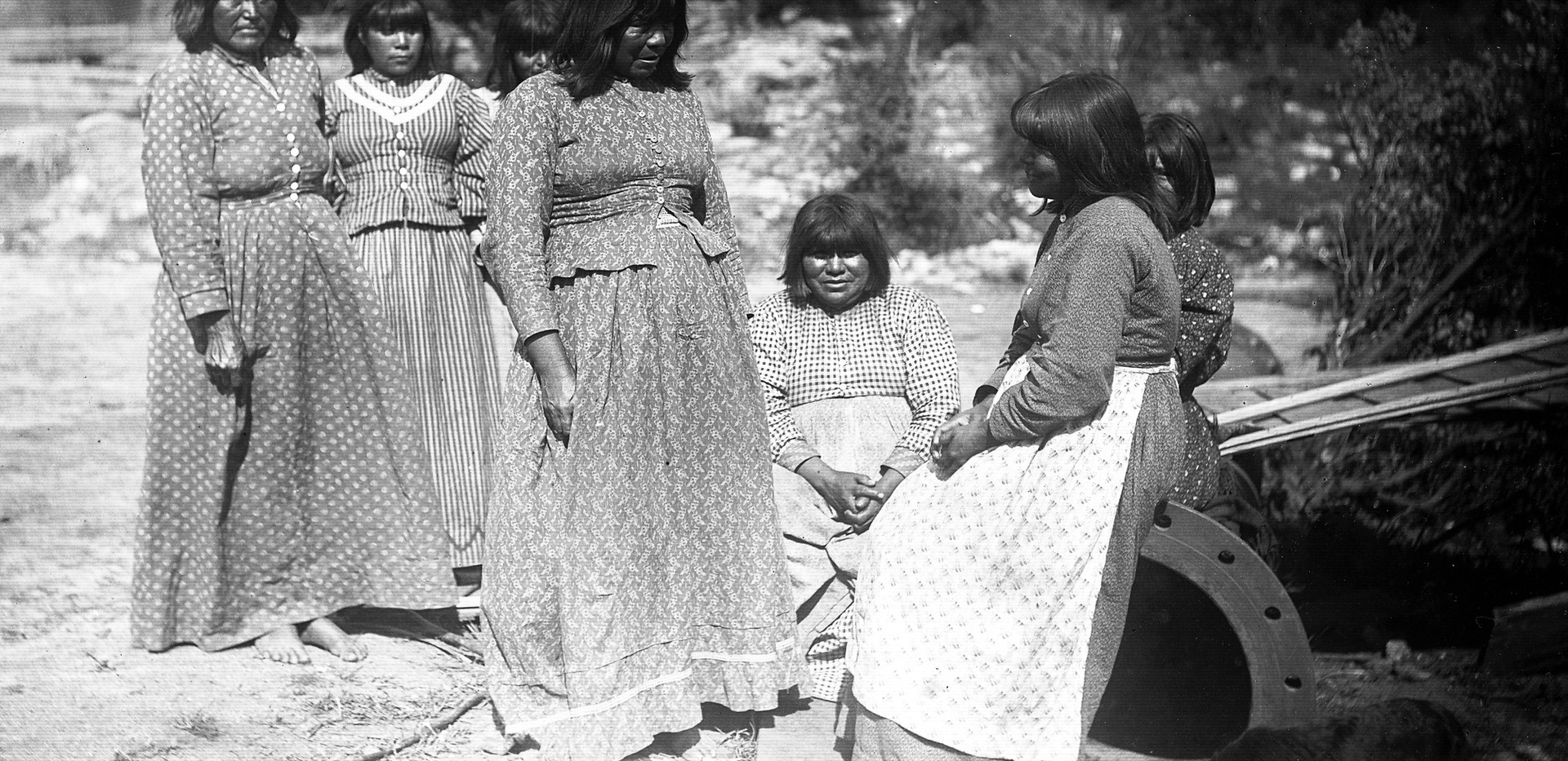 Monache women in prairie dresses, 1895