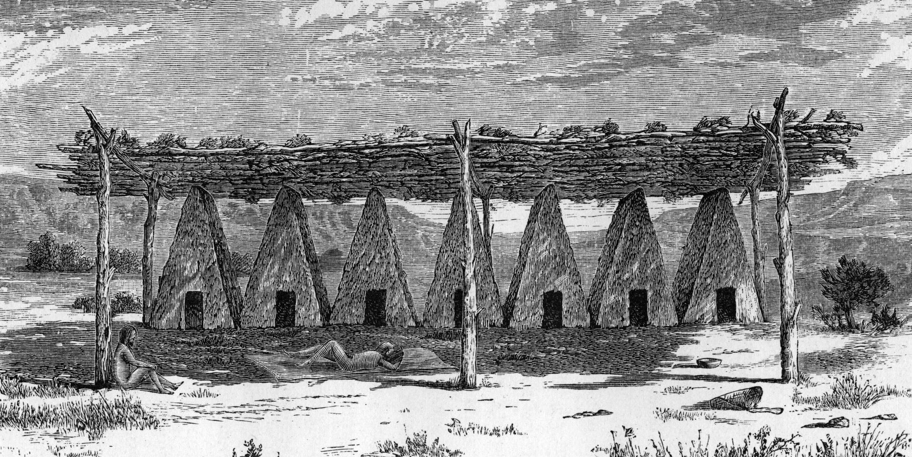 Sketch of Yokuts Tule Lodges