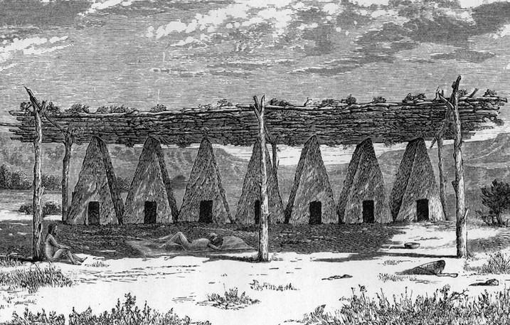 Sketch of Yokuts Tule Lodges