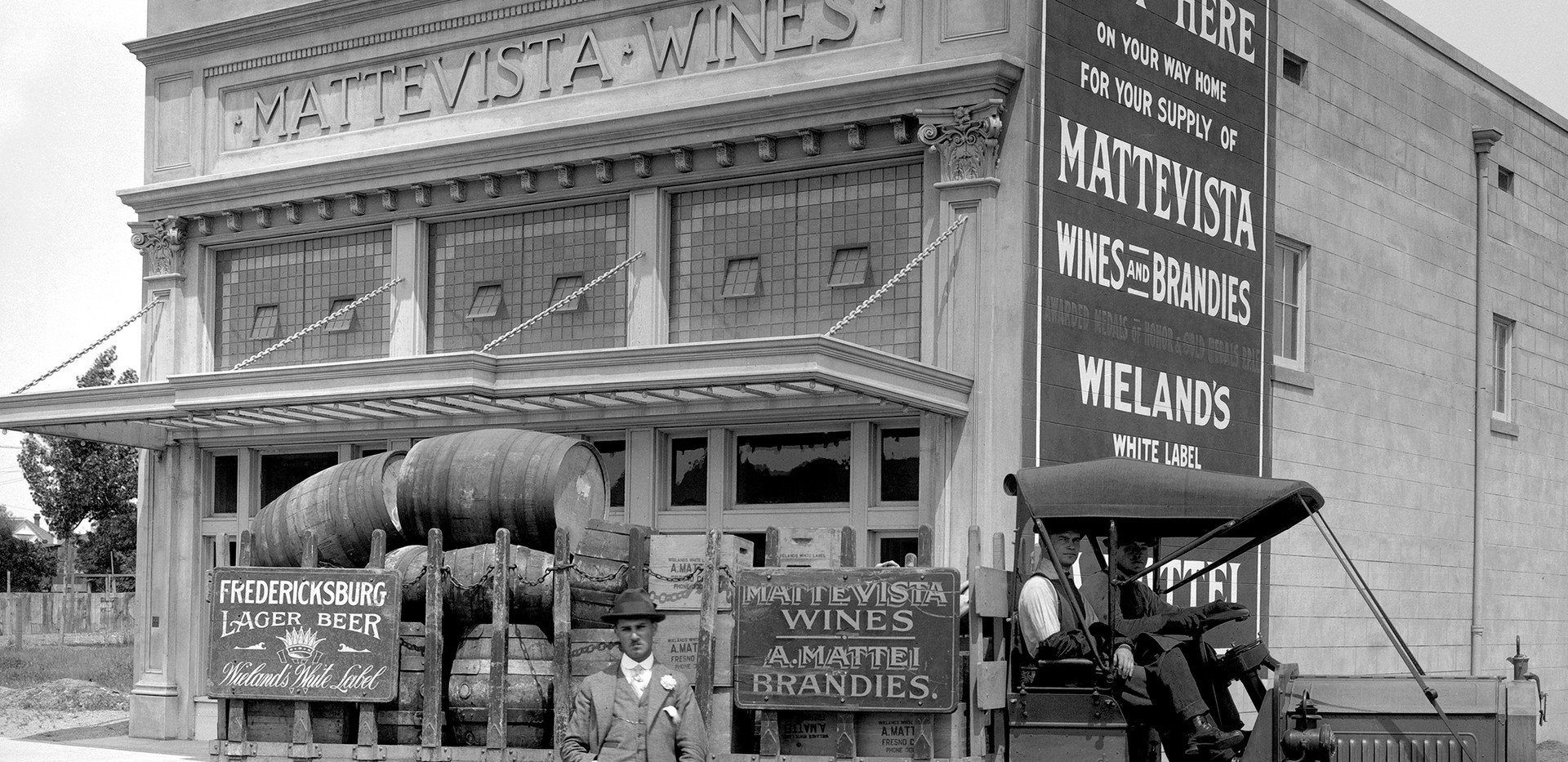 Vineyards and winemaking provided widespread employment and enjoyment for Italian American immigrants. By 1915, grape-based businesses such as Mattevista Wines, founded by Swiss Italian, Andrew Mattei, Roma/Cella and Cribari were regarded as some of the largest in the state.