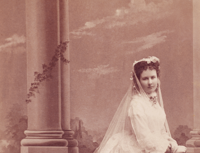 Mary Hoxie in her Wedding Dress