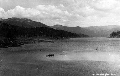 M027 Huntington Lake with boat, circa 19