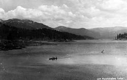 M027 Huntington Lake with boat, circa 19