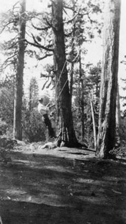 M072 Man on swing at Starkey cabin, circ