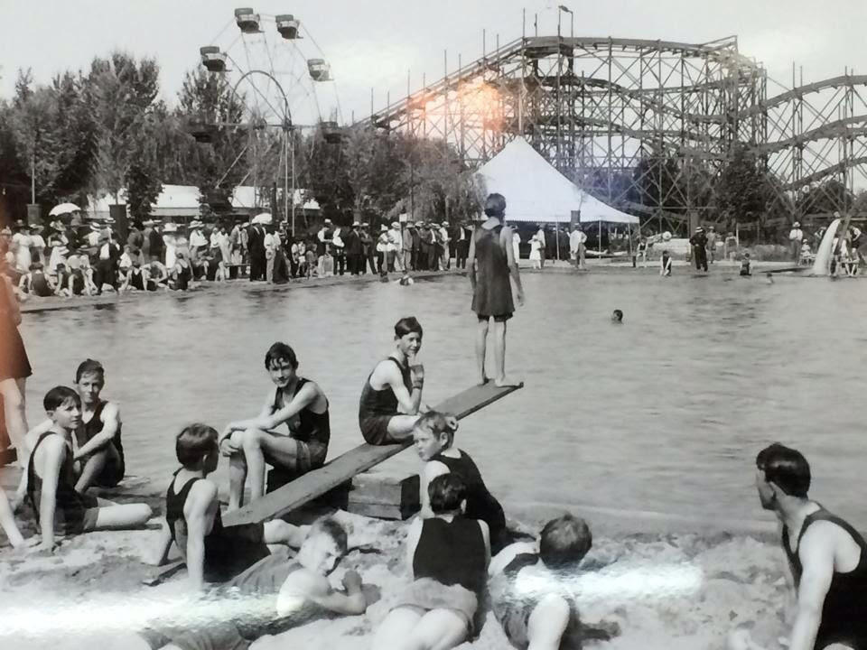 Zapp Park Swimming Pool.  Bathing Suits were rented for a dime. Taken in 1912 by Pop Laval