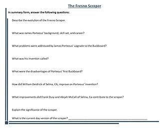 Fresno Scraper Worksheet  - Grade 6 Ques