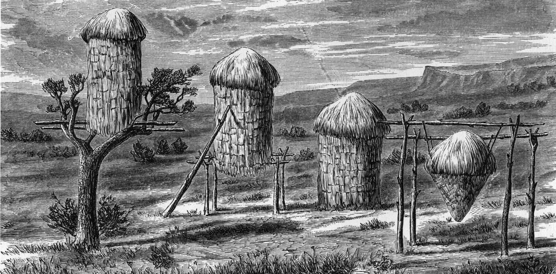 Sketch of Yokuts Acorn Granaries