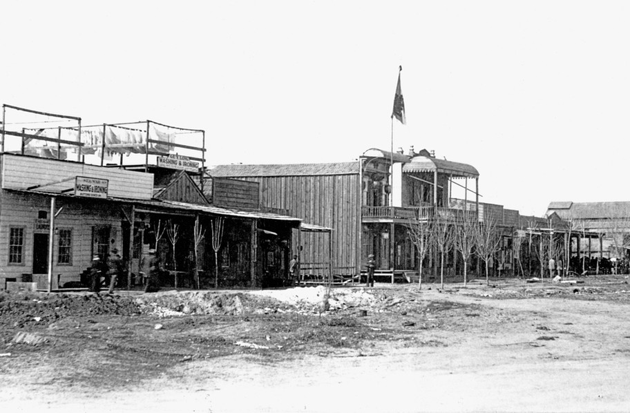 Early photo of Chinatown in Fresno, CA, circa 1880.
