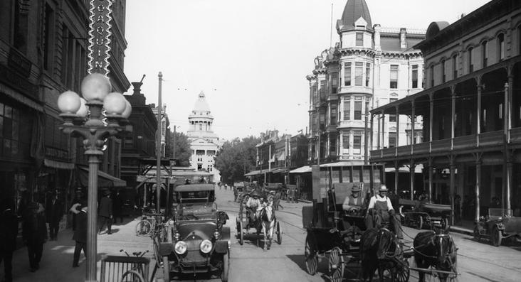 Downtown Fresno With Horse&Buggy And Cars on Mariposa Avenue taken 1914 by Pop Laval