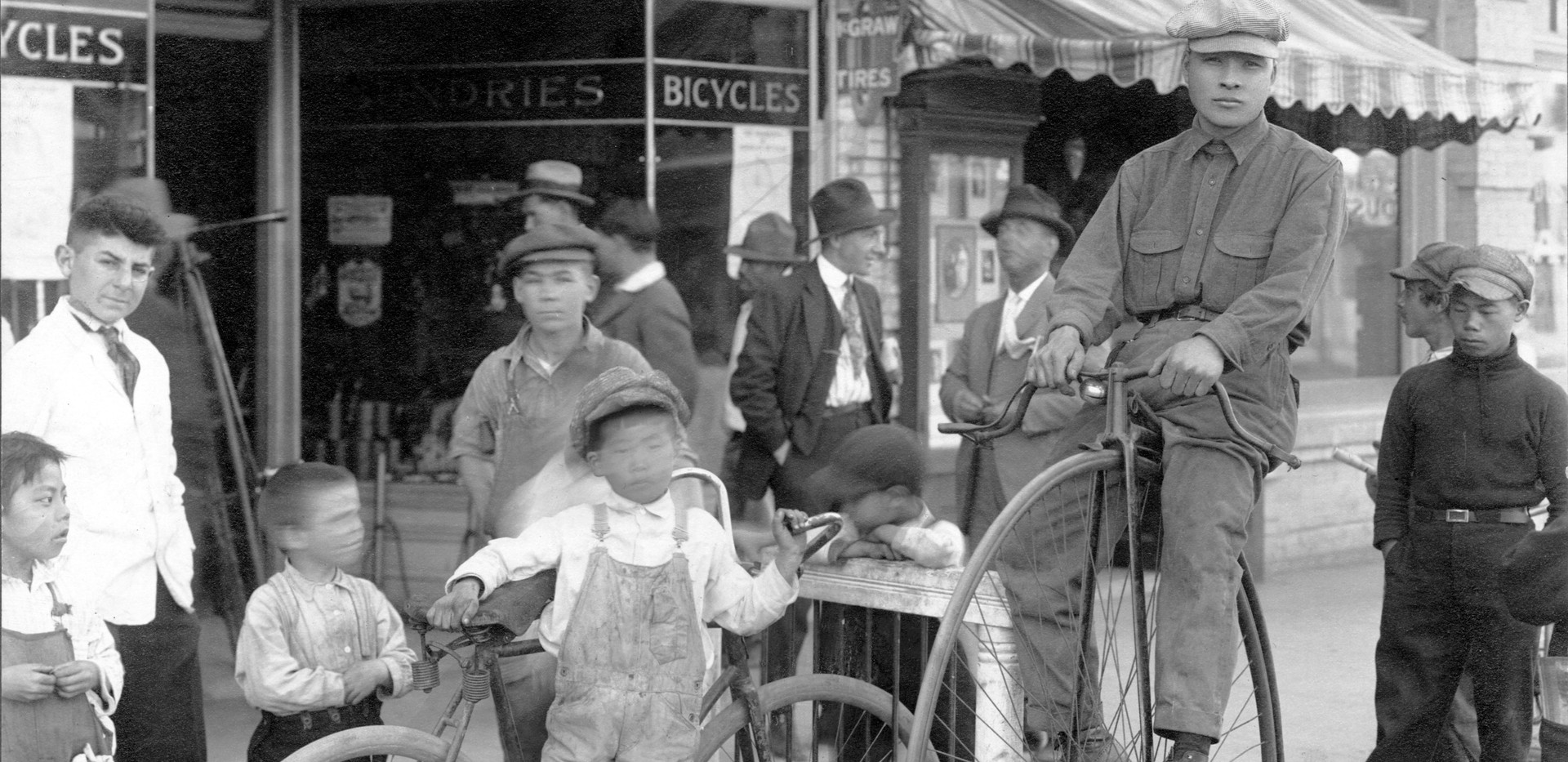 Nakamura Cyclery in Fresno's Chinatown, early 20th Century.