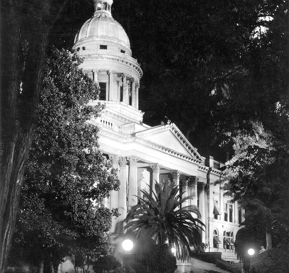 Fresno County Courthouse at Night taken in 1917 by Pop Laval.