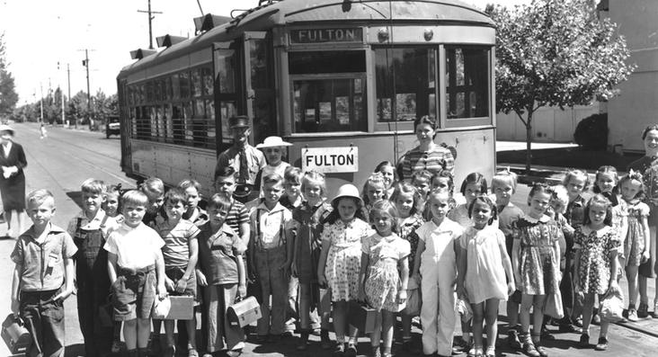 May5-1939 - Trolley-Children From College Elementary School in front of the Fulton Trolley with teachers take by Pop Laval