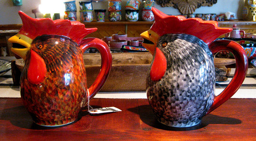 Hand-Painted Rooster Pitchers