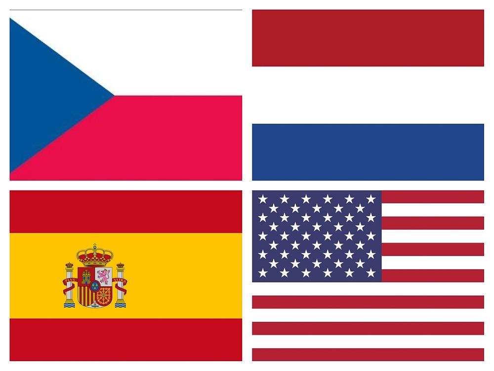 Vlajka CZ, EN, ESP, NL.