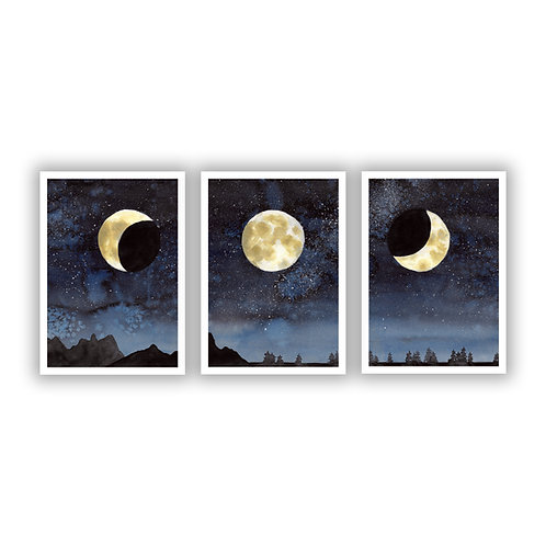 Moon Phase Triptych - Giclee Print Pack (3)