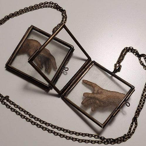 Creation of Adam - Hand Painted Glass Locket Ornament Set