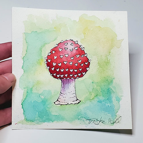 Heart-Spotted Mushroom | Watercolor Painting