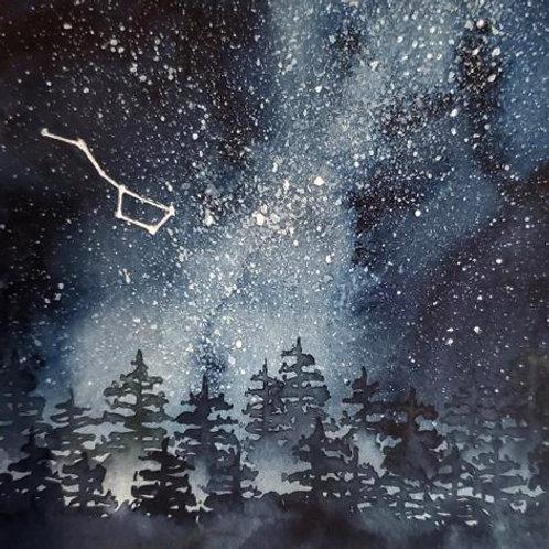 Big Dipper Constellation - Watercolor Painting