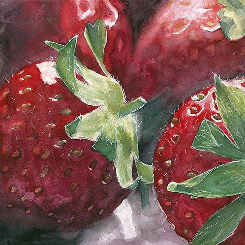 Strawberries   Watercolor Painting