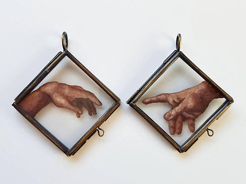 Creation of Adam - Hand Painted Glass Locket Ornament Set