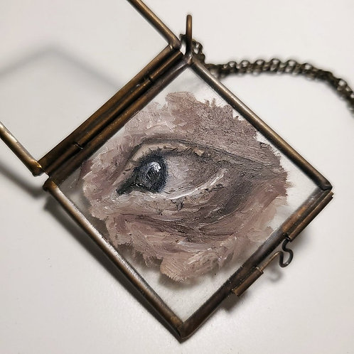 Hand Painted Glass Locket Ornament