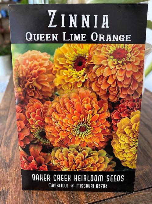 Baker Creek Heirloom Seeds - Zinnia - Queen Lime Orange