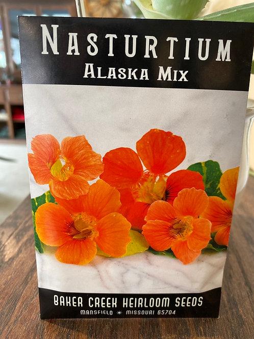 Baker Creek Heirloom Seeds - Nasturtium - Alaska Mix