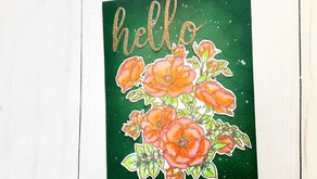 Altenew - PAF: Anemone - Gold Heat Embossing and Watercolor