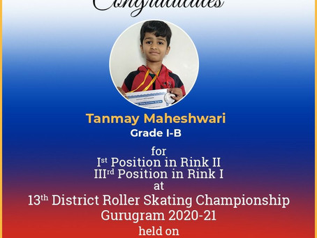 Tanmay Maheshwari from St. Xavier's High School Sector 49 Gurgaon has won 1st Position during 13th..