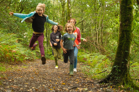 Happy children in the Cambrian Mountains