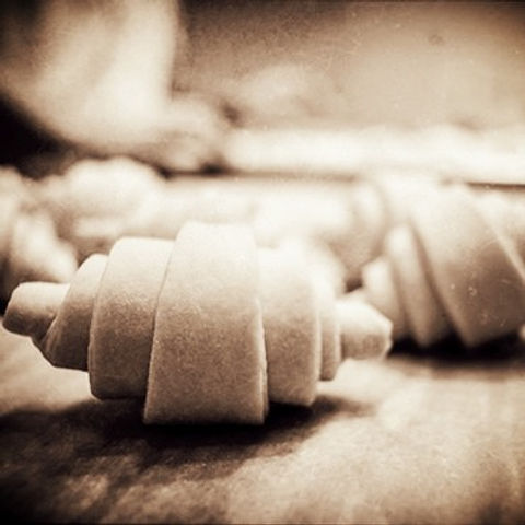 Croissant rolled & ready to go into the oven