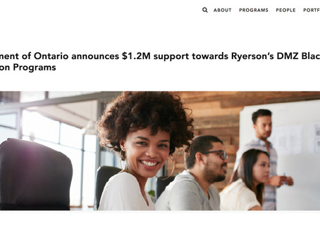 Government of Ontario announces $1.2M support towards Ryerson's DMZ Black Innovation Programs
