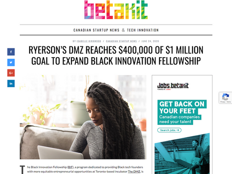Ryerson's DMZ reaches $400,000 of $1 million goal to expand Black Innovation Fellowship