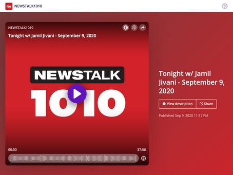Tonight w/ Jamil Jivani on NEWSTALK1010  - September 9, 2020
