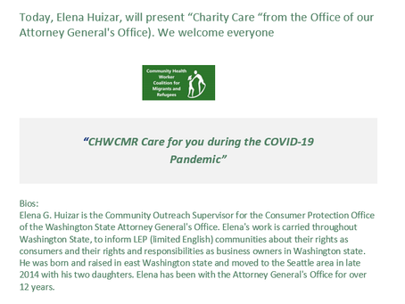 A conversation about Charity Care in Spanish today for all CHWs