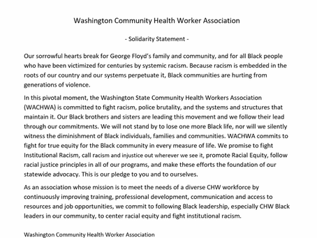 CHWCMR congratulates and supports the statement from WACHWA as its fiscal sponsor.
